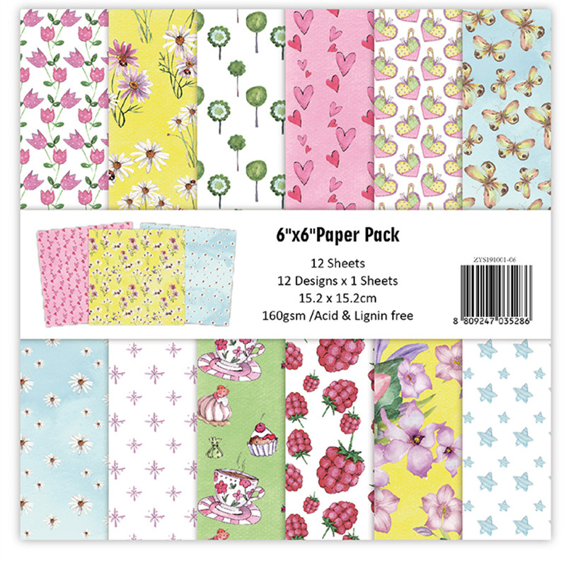12pc Fleurs Patterned Paper Scrapbooking Paper Pack Handmade Craft Paper Craft Background Pad