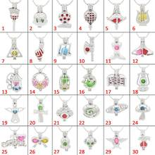 REYOW 30pcs Charms Multiple Styles ball Birdcage Wing Cross Mermaid Pearl Beads Cage Locket Diffuser Jewelry Necklace DIY Gift(China)
