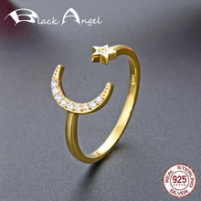 Genuine 925 Sterling Silver Moon & Star CZ Open Ring Gold Color Adjustable Finger Rings for Women Fine Jewelry