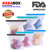 RASABOX - Food Storage & Organization Sets, Reusable Silicone Bags, Freezer for Snack Lunch Sandwich Liquid