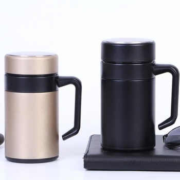 New 500ML Thermal Mug Stainless Steel Vacuum Flasks with Handle Thermocup Office Thermoses for Tea Insulated Cup Gold