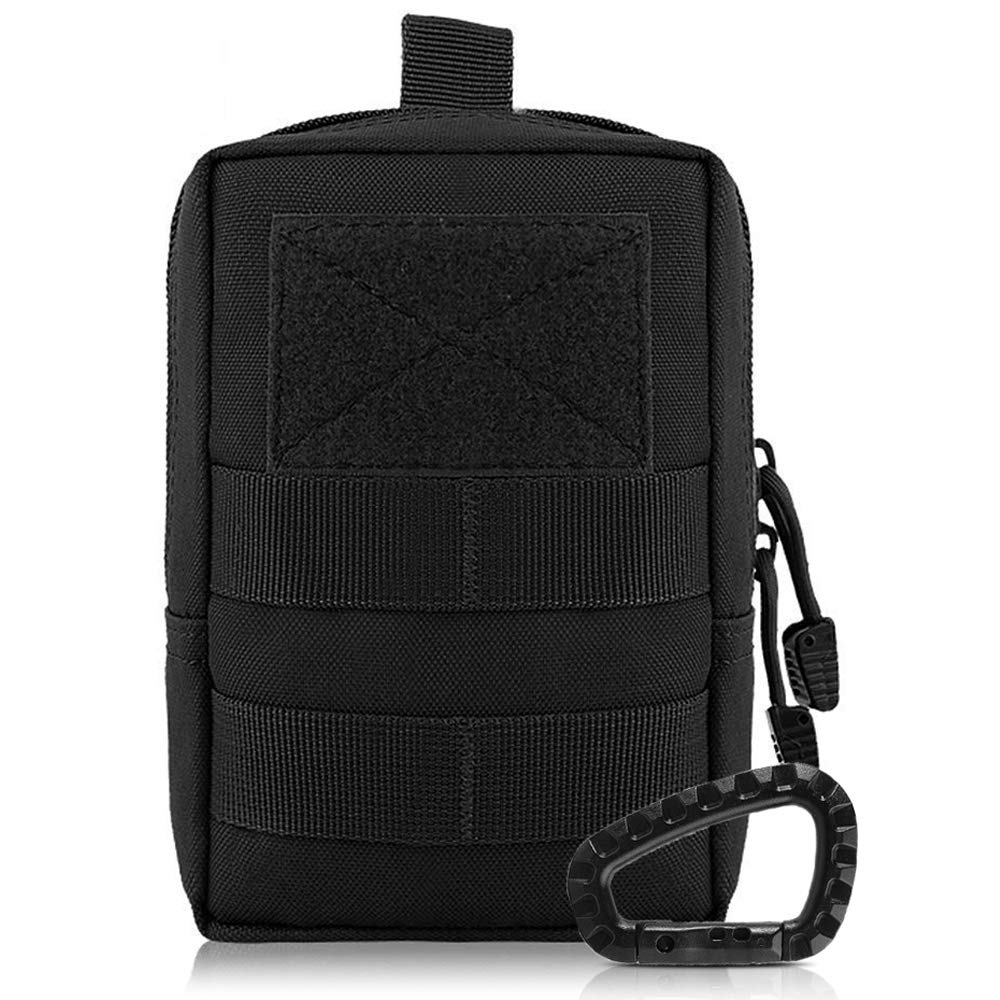 Outdoor Tactical Molle Waist Bag With Free Carabiner Multifunctional EDC Pouch Tool Waist Pack Durable Military Accessory Pouch