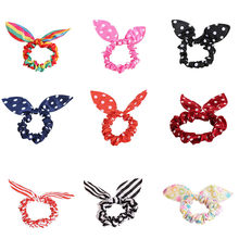18 Style Clips For Hair Band Polka Dot Trip Hair Rope Rabbit Ears Headwear Hair Tie girl Hair Accessories(China)