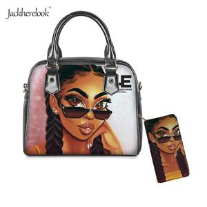 2Pcs Black Art African Girl Printed Totes and Wallet Afro Magic Beauty Lady Shoulder Bag PU-Leather Handbag/Messenger/Conin Bags(China)