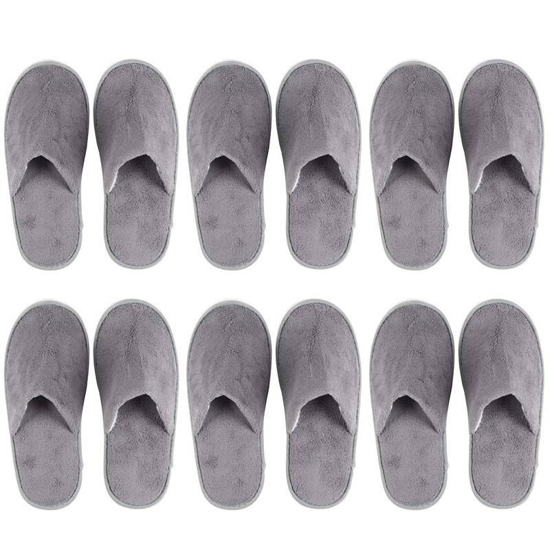 6-Pairs Disposable Slippers, Great For Hotel, Spa, Nail Salon Use-Non-Slip-Grey-Fits Up To US Men's Size 11 And US Women's Size