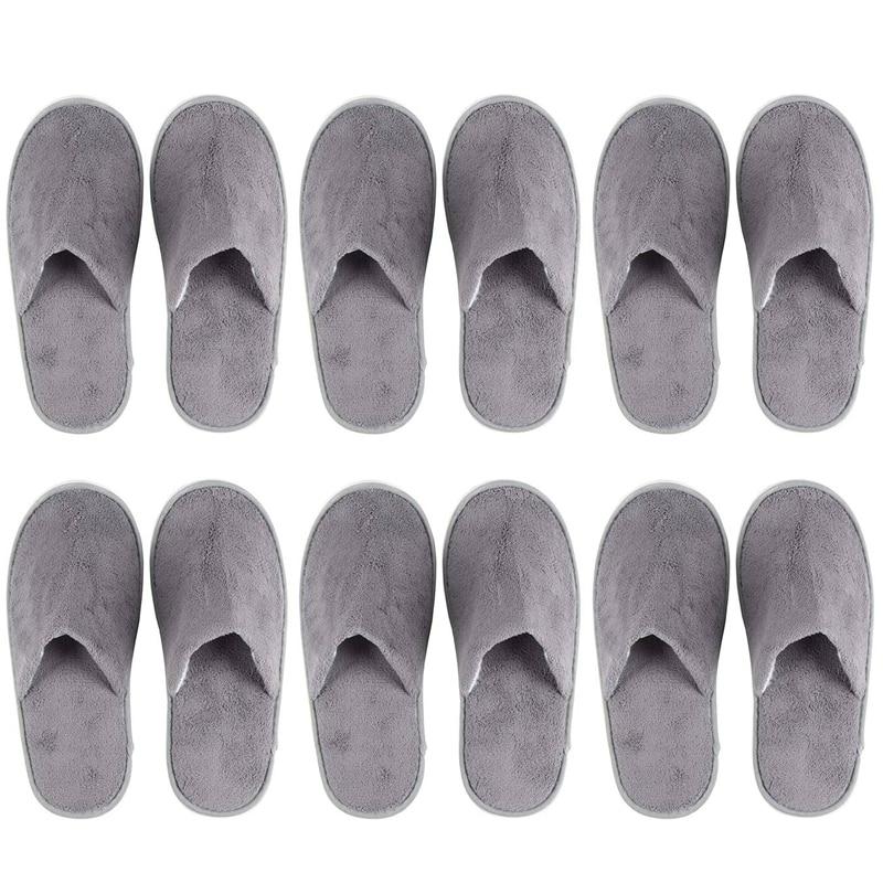 Одноразовые тапочки, 6 пар, отлично подходят для использования в гостиницах, спа, маникюрных салонах-нескользящие-серые-подходят для мужчин ...