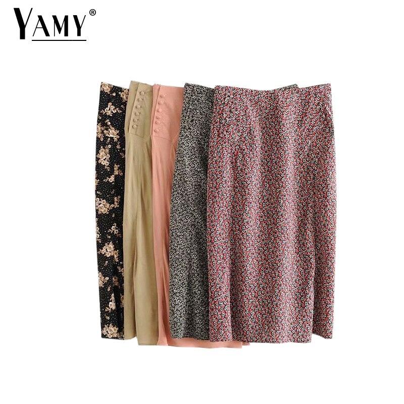 High Waisted Pencil Skirts Women Vintage Skirt Summer Midi Skirts Vintage Korean Skirt Winter Floral Skirts Button