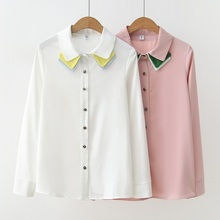 Autumn Long-sleeved Blouse Fashion New Folding Collar Chiffon Female Shirt White Bottoming