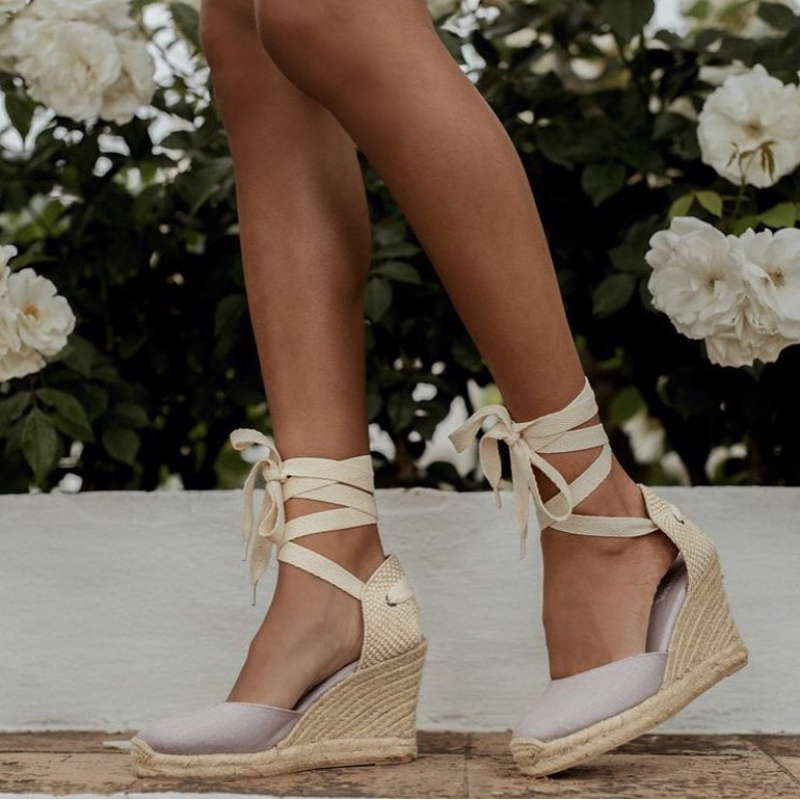 Women s Espadrille Ankle Strap Sandals Comfortable Slippers Ladies Womens Casual Shoes Breathable Flax Hemp Canvas Innrech Market.com