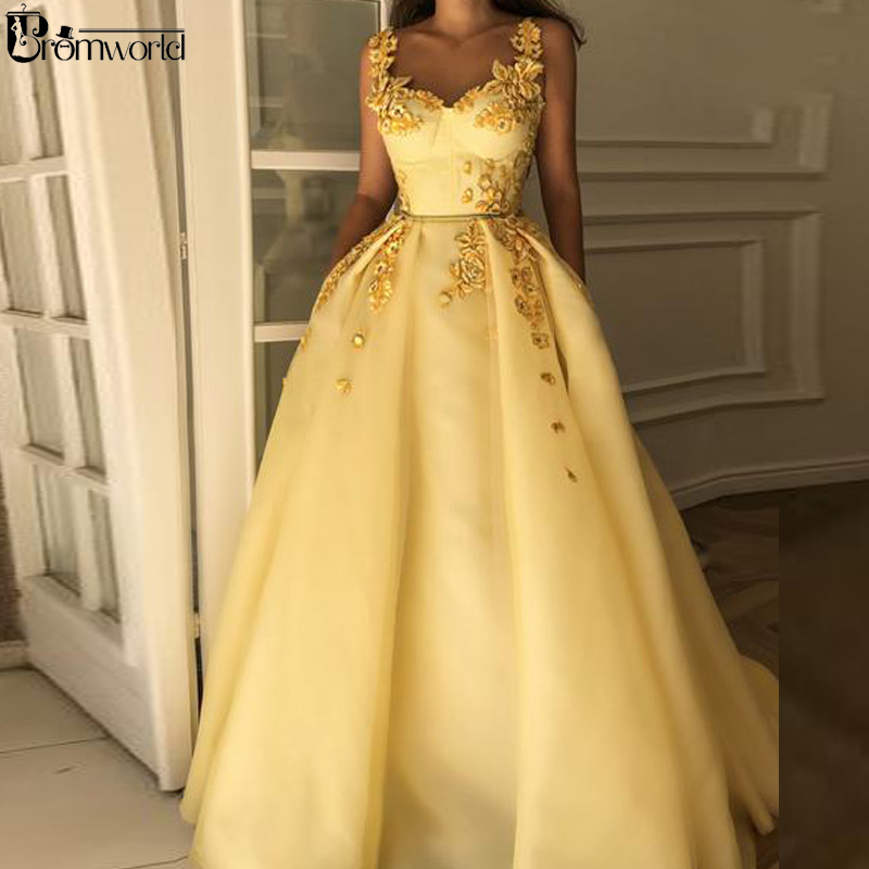 Yellow Muslim Formal Dress 2019 Sweetheart Flower Straps Islamic Dubai Saudi Arabic Long Elegant Evening Gown Prom Dresses Long