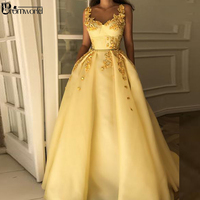 Yellow Muslim Formal Dress 2019 Sweetheart Flower Straps Islamic Dubai Saudi Arabic Long Elegant Evening Gown Prom Dresses Long