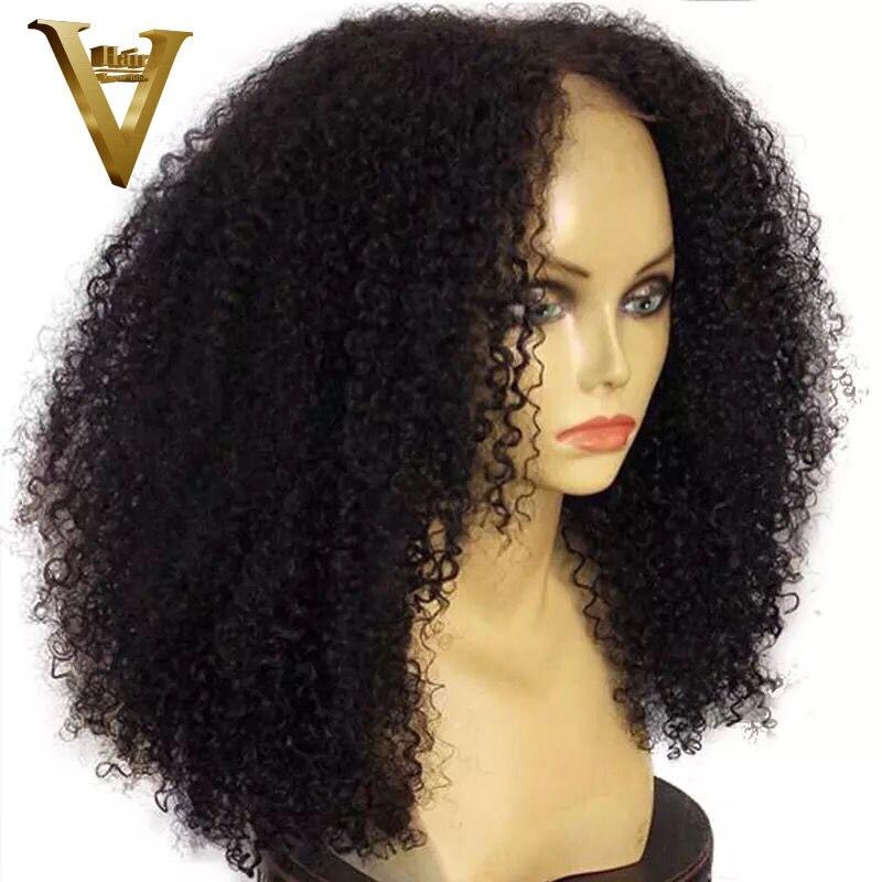 180% плотность афро кудрявые 13x4 & 13x6 кружевные передние человеческие волосы парики 12 '' 16'' короткий боб парик для зимы бразильские Remy черные же... - 2