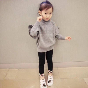 Image 3 - Baby Girl Sweater Ribbed Turtleneck for Girls 2020 Winter Tops Clothes Kids Cardigan Toddler Pullover