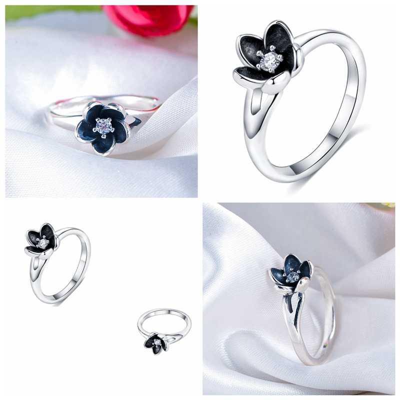 คอลเลกชันใหม่ Mystic แหวนดอกไม้ดอกไม้สีดำเคลือบสีเงินผู้หญิงเครื่องประดับ