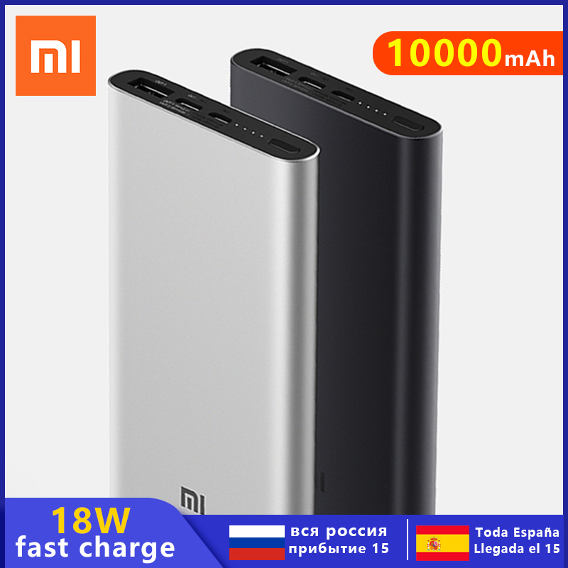 Original <font><b>Xiaomi</b></font> <font><b>Power</b></font> <font><b>Bank</b></font> <font><b>3</b></font> <font><b>10000mAh</b></font> USB Type C Two-Way 18W Quick Charge Powerbank External Battery Pack Portable Charger image