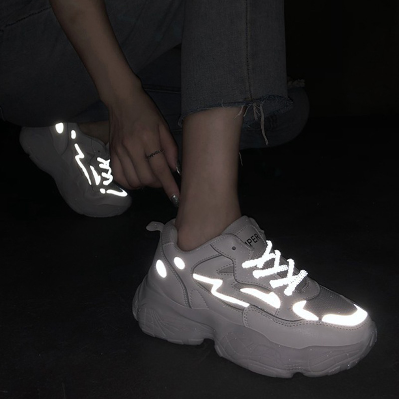 2020 New Women Vulcanize Shoes Reflective Women Sneakers Breathable Mesh Chunky Sneakers Women Shoes Women Flats Tenis Feminino
