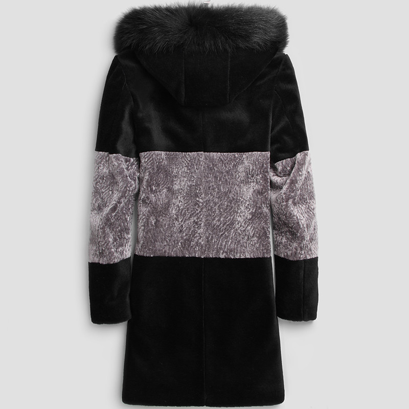 100% Wool Coat Winter Jacket Men Real Sheep Shearling Fur Coats Mens Fox Fur Collar Long Jackets Chaqueta Hombre MY1419