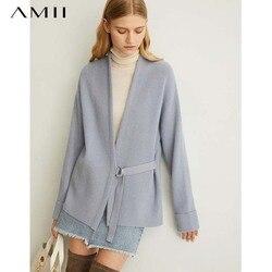 Amii frauen frühling der kiefer band stricken wolle mantel neue feste vollen ärmeln gürtel vneck pullover 11940411