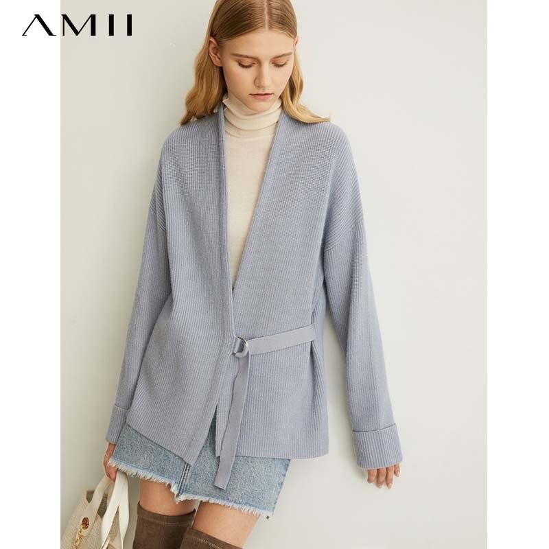 Amii Women's Spring Pine Ribbon Knitting Wool Coat New Solid Full Sleeves Belt Vneck Sweater 11940411