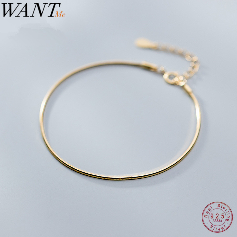 WANTME Fashion Minimalist Golden Snake Bone Chain Charm Bracelet For Women Real 925 Sterling Silver Party Wedding Jewelry Gift