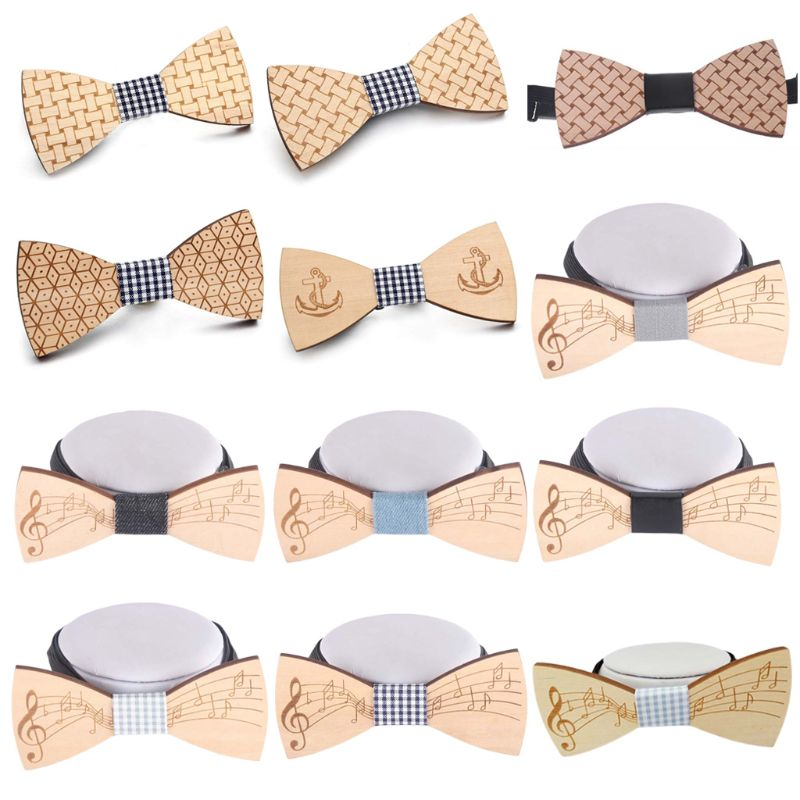 Gentleman Handmade Wooden Bowtie Musical Note Boat Anchor Pattern Men Kids Party Necktie Bowknot Classic Wedding Accessory