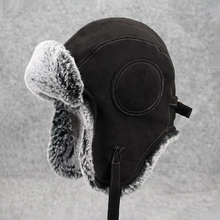 Vintage Suede Bomber Hats Winter Russian Ushanka Ha