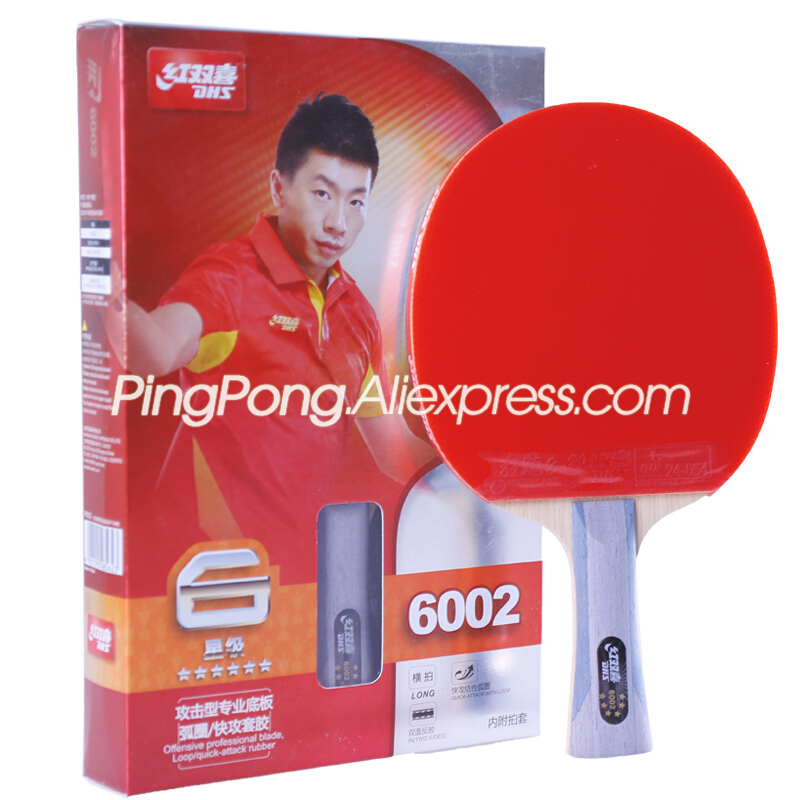 DHS 6-Star Table Tennis Racket (6002, 6006) With Rubber (Hurricane 8, Tinarc) + Bag Set Orignal DHS Ping Pong Bat