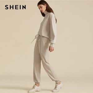 Image 3 - SHEIN kaki solide col haut sweat et cordon taille pantalon de survêtement ensemble automne vêtements actifs goutte épaule tenues décontractées