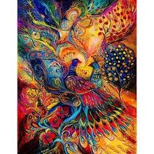 Diy картина по номерам Абстрактная живопись павлин маслом Раскраска