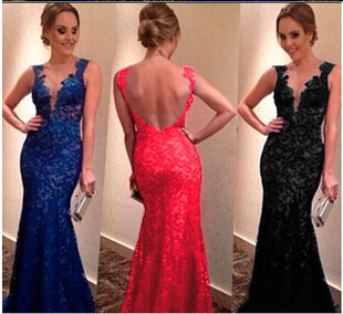 Autumn New Blue Color Lace V-neck Sexy Fashion Mini Long Skirts Backless Formal Dress
