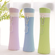Collapsible silicone water bottle 500ML Creative small waist shape sports office car outdoor portable