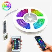 Tira de luces Led RGB 5050, cinta de iluminación con Cable USB, modelo Bluetooth, mando a distancia IR, lámpara luminosa para dormitorio, DC5V