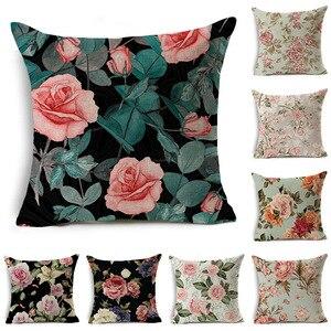 Peony Rose Flower Linen Cotton