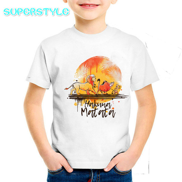 Baby Boy Clothes The Lion King Simba T Shirt Children Cartoon HAKUNA MATATA T-shirt For Boys And Girls Toddler Shirt Tee DHKP301