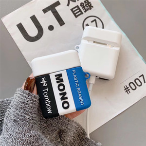 Image 4 - Para airpods funda de auriculares Bluetooth inalámbricos de silicona suave para estudiantes borrador para airpods 1/2 funda bonita caja de carga