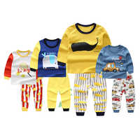 2019 New Autumn Children Boy Girl Pajamas Cartoon Animal Pattern Round Collar Long Sleeve+Long Pants Sleepwear Home Clothing