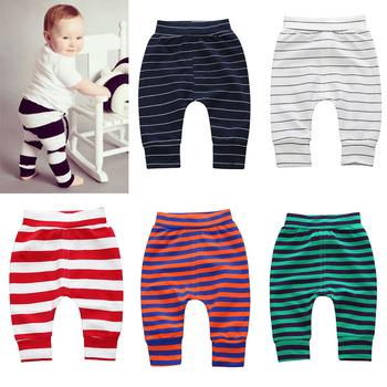 Zimowe spodnie dla niemowląt bawełniane w paski spodnie dla dziewczynek chłopięce ubrania otwarte spodnie krocza tanie i dobre opinie CN (pochodzenie) Dla chłopców W wieku 0-6m 7-12m 13-24m 25-36m baby Proste Pełna długość COTTON W stylu japońskim