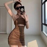 Hong Kong Stil Liebsten Sexy Hot Girl Halter Spaghetti-trägern Kleid frauen Sommer 2021new Enge Mantel Kurzen Kleid