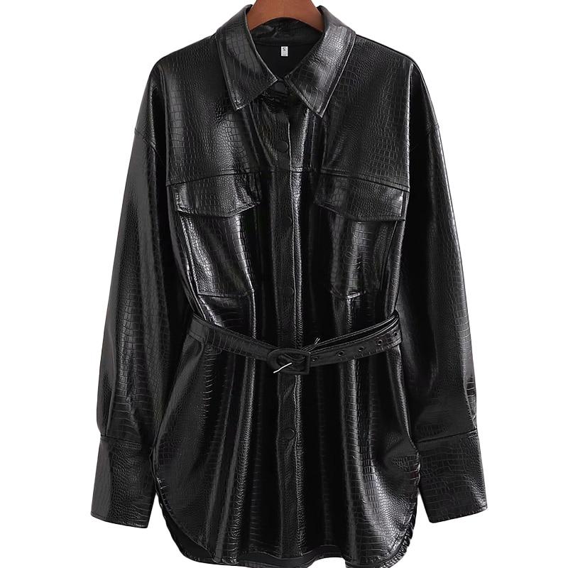 Women New Fashion Retro Crocodile Texture Belt PU Artificial Leather Clothing Female Locomotive Single Breasted Long Jacket