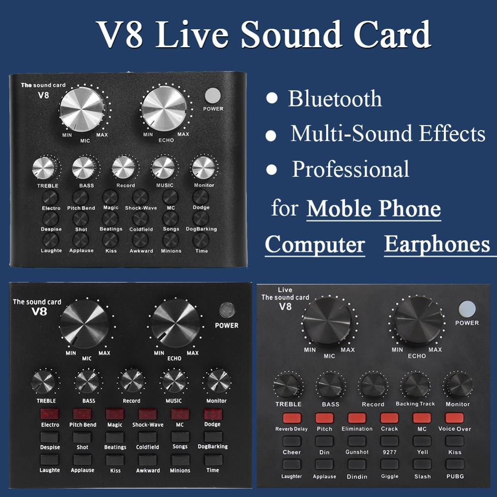 Live Sound Card V8 Audio External USB Headset Microphone Live Broadcast Sound Card For Mobile Phone Computer PC