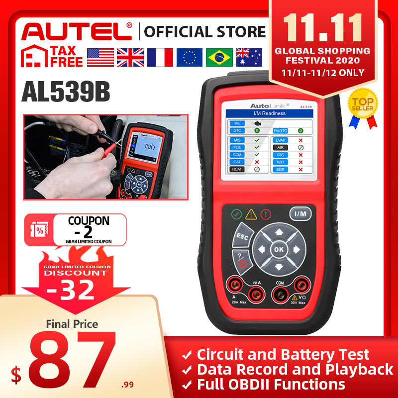 Autel Autolink AL539B OBD2 scanner automotive Electrical Test Tool For odb2 diagnostic tool EOBD OBD 2 car Code Reader PK al539