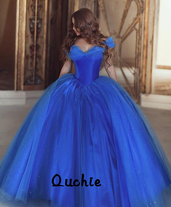 Snow White Royal Blue Butterfly Quinceanera Dresses Ball Gown Lace Up Sweet 16 Dresses Vestidos De 15 Years