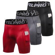 3 pacote masculino compressão shorts treino ativo cueca com bolso curto futebol homme 2020 novo