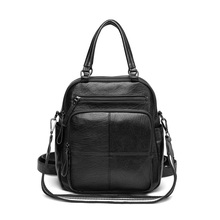Genuine Leather Fashion Women Backpack Preppy Style Girl's Schoolbag Black Holiday Knapsack Lady Casual Travel Bag
