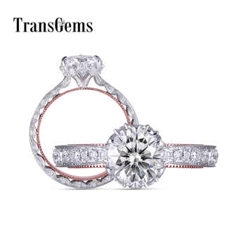 Transgems Solid 14K 585 White and Rose Gold F Colorless Moissanite Engagement Milgrain Edge Ring For Women Vintage Fine Jewelry - DISCOUNT ITEM  5 OFF Jewelry & Accessories