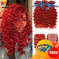Mechones Remyblue rojo 99J color borgoña con ondas profundas con cierre de pelo malayo 3 mechones con cierre Remy extensiones de cabello humano mechones 10-26 pulgadas