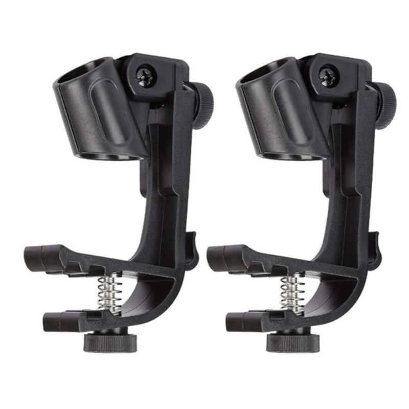 2pcs Mic Holder Clip Adjustable Microphone Stage Drum Clips Anti-slip Shockproof Drum Clip Mic Rim Snare Mount Clamp Holder