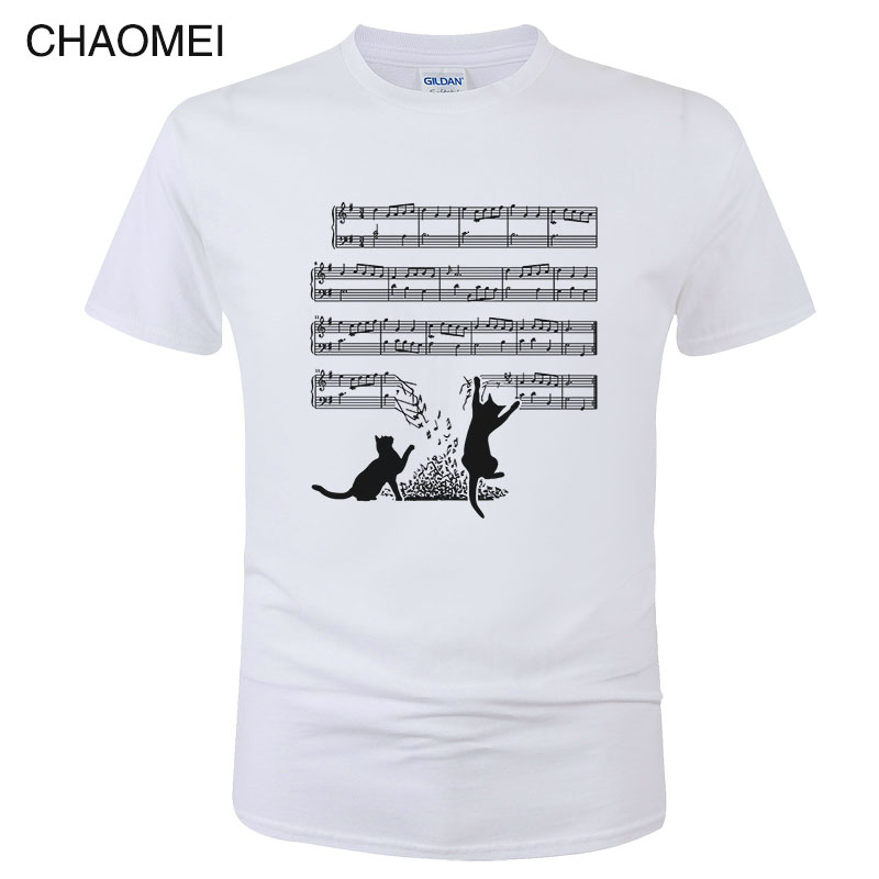 2019 Fashion Summer Cotton Short Sleeve T Shirt Men Funny Cat And Music Sheet Print T-Shirt Cats Music Spectrum Tee Tops C59