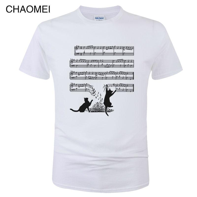 2019 Fashion Summer Cotton Short Sleeve T Shirt Men Funny Cat And Music Sheet Print T-Shirt Cats Music Spectrum Tee Tops C59