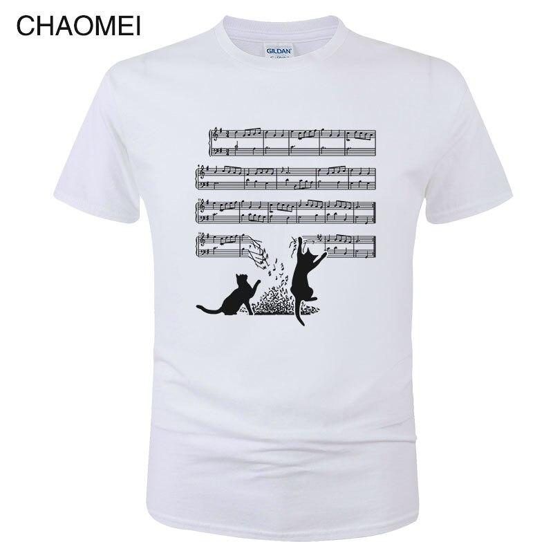2019 Fashion Summer Cotton Short Sleeve   T     Shirt   Men Funny Cat And Music Sheet Print   T  -  Shirt   Cats Music Spectrum Tee Tops C59